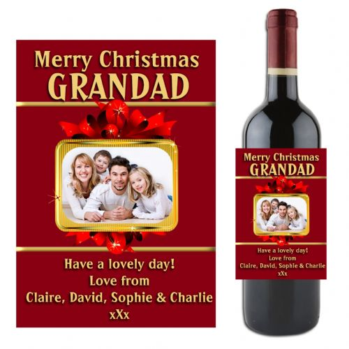Personalised Christmas Wine / Champagne Bottle PHOTO Label N2